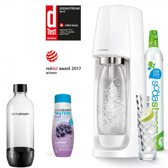 SODASTREAM Spirit White + Lahev do myčky + Sirup